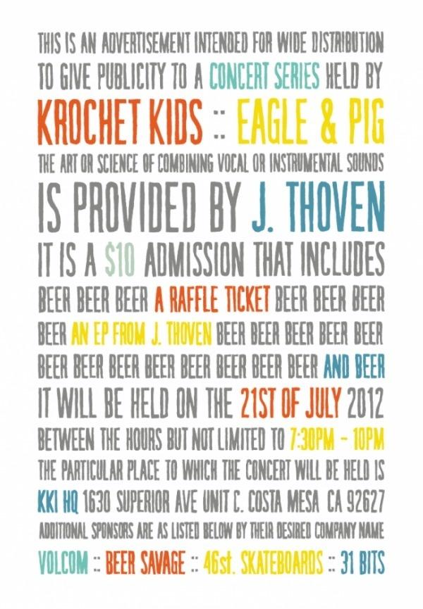 KKi Concert Series: Eagle & Pig presents J. Thoven - Krochet Kids international #kids #concert #poster #krochet