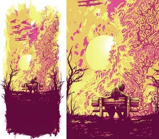 Dan Mumford: Nuclear Sunset 2 #explosion #dan #screen #printing #mumford #bomb