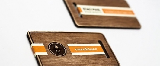 Carabiner Outdoor Connections Business Card - FPO: For Print Only #wood #cards #business