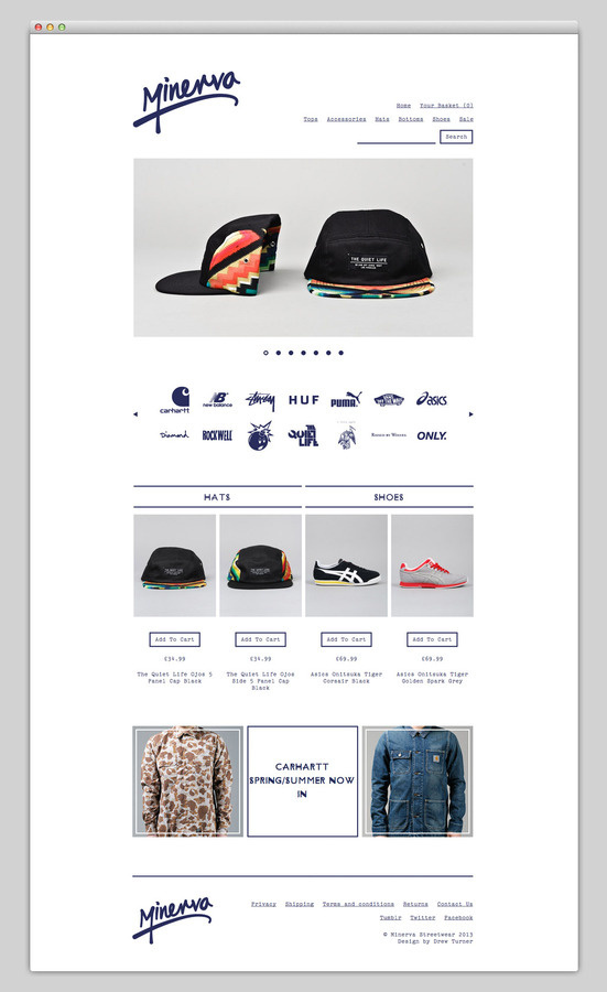 Minerva Streetwear (nice typography) #design #website #store #layout #web