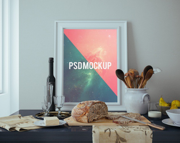 Frame on table with food mock up Free Psd. See more inspiration related to Frame, Poster, Mockup, Food, Wood, Template, Table, Photo frame, Web, Photo, Website, Wall, White, Elegant, Mock up, Poster template, Psd, Templates, Website template, Mockups, Up, Web template, Realistic, Showcase, Real, Web templates, Mock ups, Mock, Psd mockup, Ups and Wood mockup on Freepik.