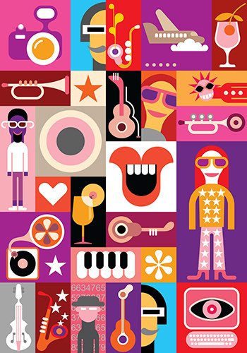 Party - vector collage. Patchwork seamless wallpaper. #abstract #vector #camera #design #illustration #art #music #wallpaper