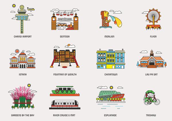 Icons of Singapore #singapore #icons #illustrations