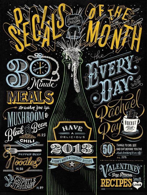 Erik Marinovich Rachael Ray Opener SM #cover #lettering #chalk #typography