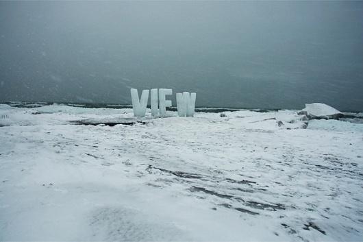 View : Nicole Dextras #installation #typography #dextras #temporary #outdoor #ice #nicole #winter