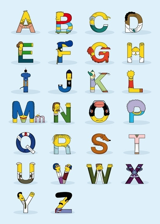 Simphabet by Fabian Gonzalez #simpsons #alphabet #typography