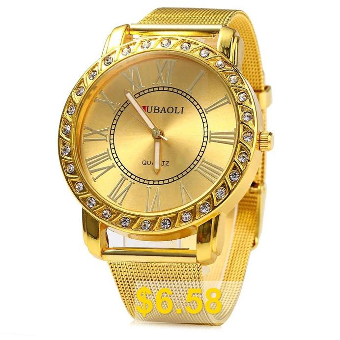 JUBAOLI #Male #Diamond #Quartz #Watch #Steel #Net #Band #- #GOLDEN
