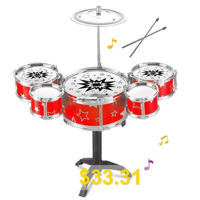 Rack #Jazz #Drum #Set #Mini #5 #Drums #Kit #Musical #Learning #Toys #- #MULTI-A
