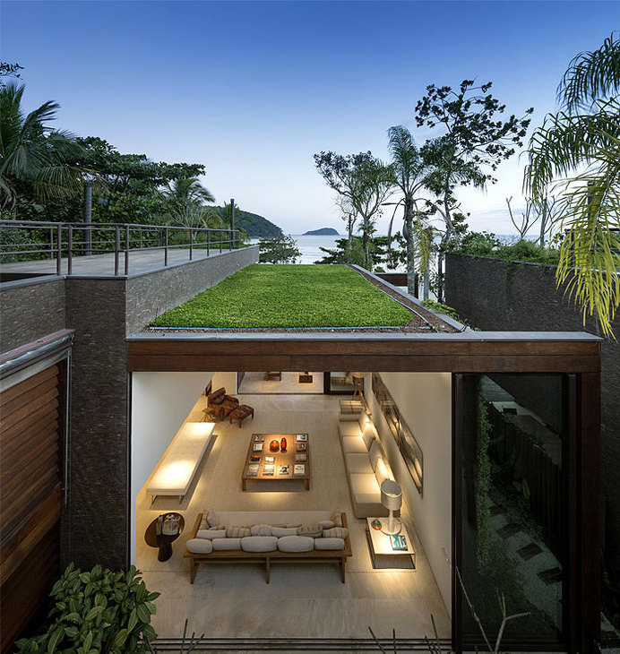 Luxurious and Sophisticated Spirit of Brazilian Weekend Home vertical gardens used blind walls #interior #house #design #home #architecture