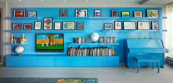Blue room with artistic look #interior #painting #art #kids #apartment #room