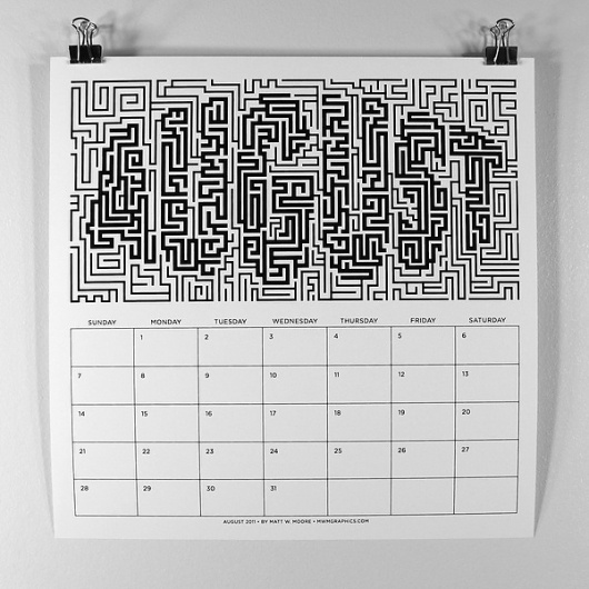 MWM : B/W Typography 2011 Calendar. on the Behance Network #lettering #white #maze #calendar #black #typography