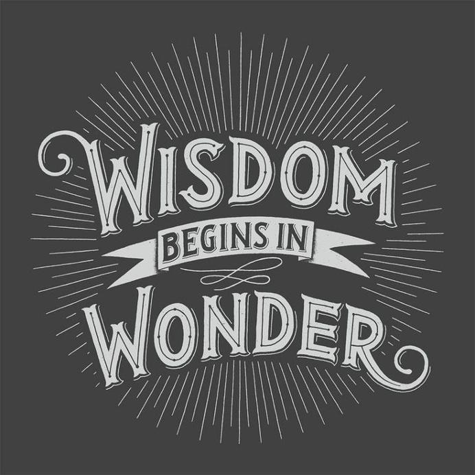 Wisdom begins in wonder' poster, by Rob Zangrillo.