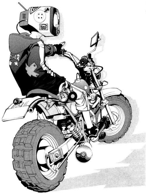 Designersgotoheaven.com DJ Plugman by Ito Ogure. #head #motorbike #tv