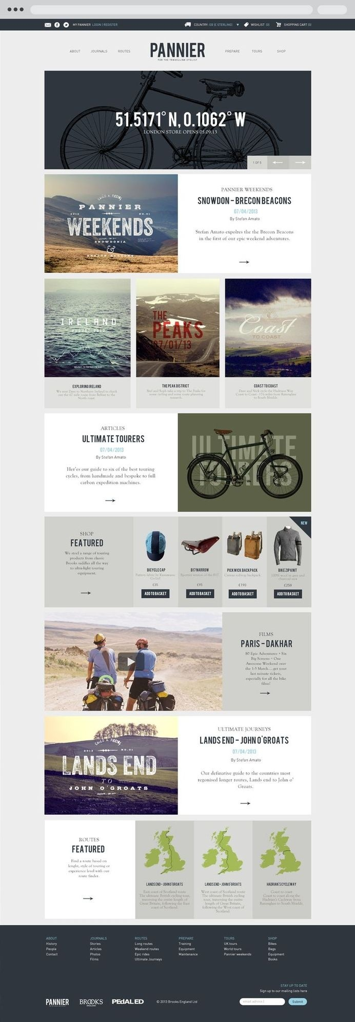 Pannier, A cycle touring website designed by http://www.p53.co.uk #touring #cycle #design #graphic #brand #cycling #web