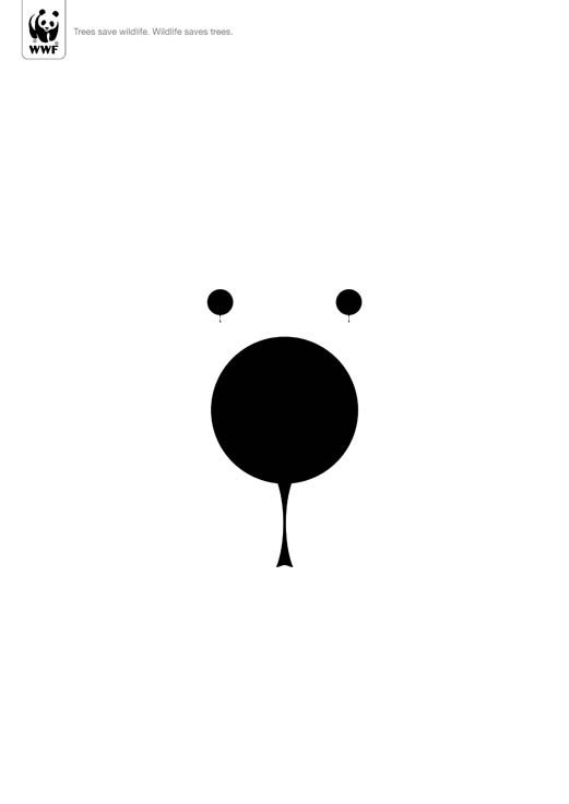 Minimalist Posters For WWF: Wildlife And The Environment Are Intertwined DesignTAXI.com #design #graphic #posters #wwf #bear #animal #trees