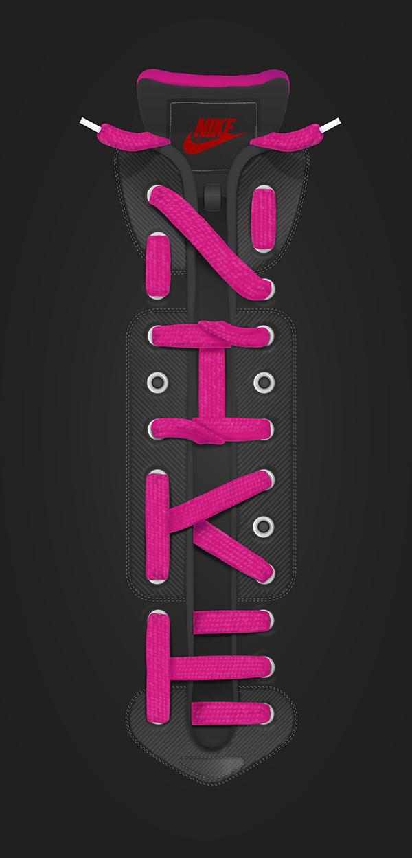 Nike laces lettering #lettering #sport #laces #black #shirt #baimu #nike #purple #type