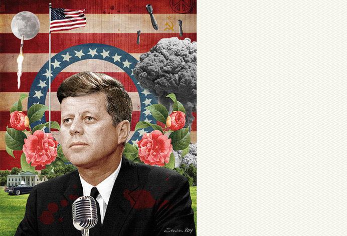 Sonia Roy, Baltimore Magazine, Colagene,com #60s #politic #flag #photomontage #jfk #illustration #vintage #flower #usa #collage #moon
