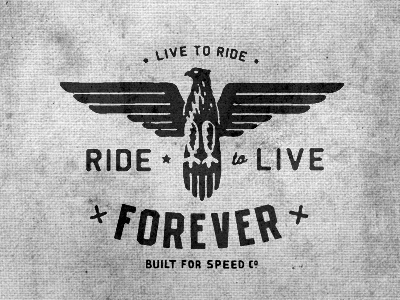 Dribbble - Live To Ride by Curtis Jinkins #retro #bird #eagle #bike #logo
