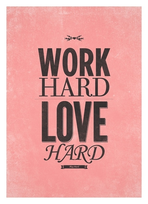 Love print typography poster work hard love hard by NeueGraphic #print #poster #art #love #typography