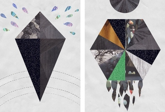 Malin Bergström : Polygons and holograms #illustration #collage