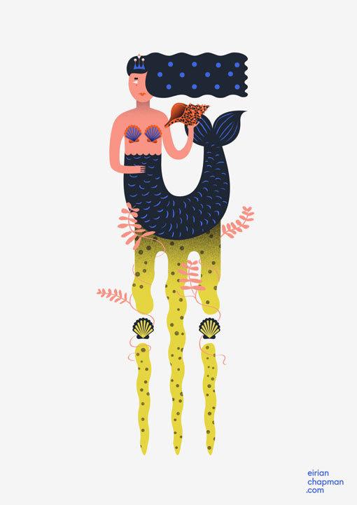 EirianChapman_teethandhair_01 #illustration #design #graphic #mermaid