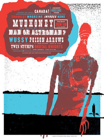 GigPosters.com - Mudhoney - Man Or Astroman? - Wussy - Poison Arrows - Twin Stumps - Brutal Knights #gig #poster