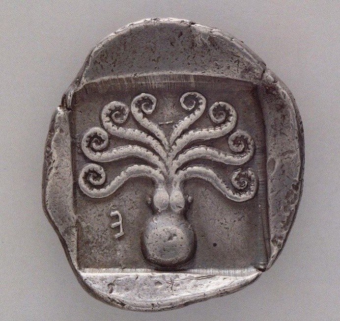 Greek coin from Eretria, c. 500-465 BC with octopus