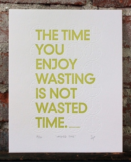 Letterpress Print Wasted Time 2nd Edition by shopsaplingpress #print #design #letterpress #typography