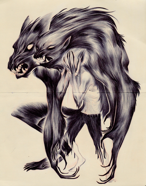 nataliehall #werewolf #fantasy #transformation #horror #illustration