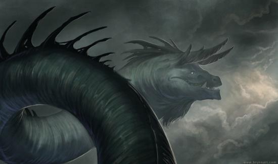 Rain Wyrm - Brynn Metheney #dragon #fantasy #wyrm #illustration #rain #storm #magic #monster #character