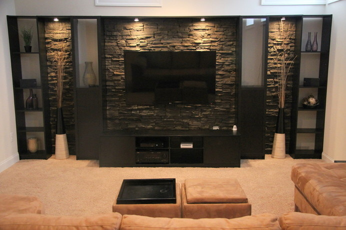 Basement Remodel - contemporary - Basement - Dc Metro - bluhring #basement #interior #stone
