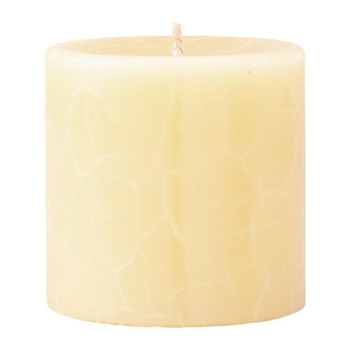 Crackle Pillar French Vanilla & Jasmine Tea Scented Candle, 7cm x 7cm