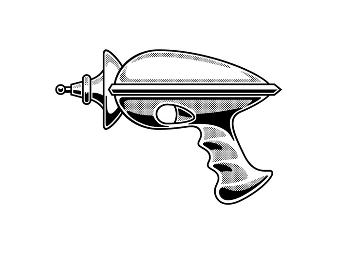 Cade Cran — Ray Gun #halftone #white #one #gun #color #black #ray #illustration #vintage #and
