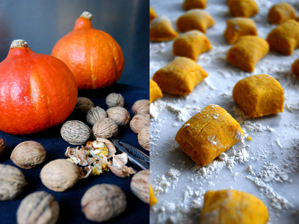 Pumpkin Gnocchi with Walnut Pesto #food