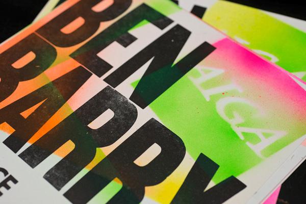 Description #typography #letterpress #stencil #paint #spray #aiga #green
