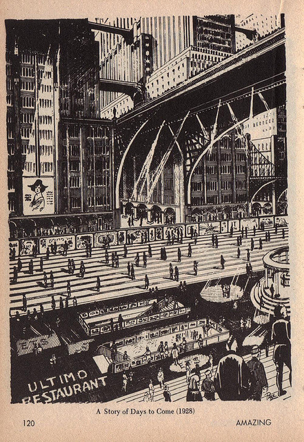 Frank R Paul - H.G. Wells Illustrations (Published in Amazing Stories, April 1966) #paul #ink #white #g #city #black #wells #illustration #h #frank #r #and #bridge #contrast