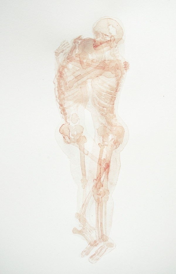 Fernanda Uribe abrazo #skeleton #anatomy #watercolour #illustration #hug