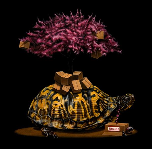 Turtle in animal surreal art #surrealism #realism #painting #paintings #art #animal