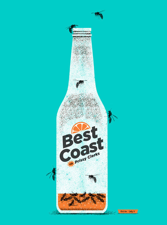 Best Coast Gig Poster screen print #gig #screenprint #poster