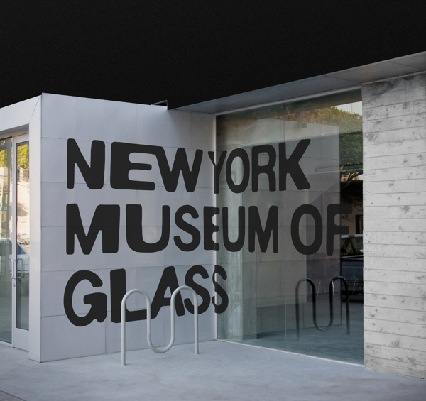New York Museum of Glass #typography #branding #lettering #glass #warped #signage #outdoor