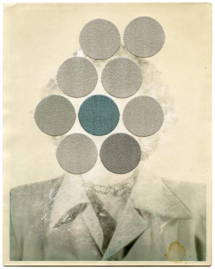 Julie Cockburn - Doubter, 2013 #photo #design #circles #surreal #manipulation #art #vintage #face #collage