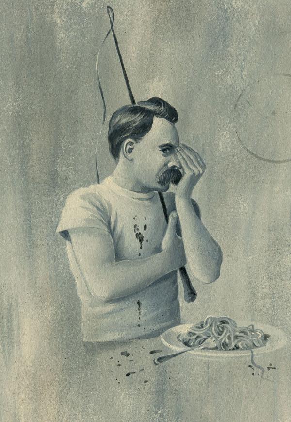 "Series: ""Acceptable crisis"" on Behance #white #pasta #black #mustache #illustration #man"