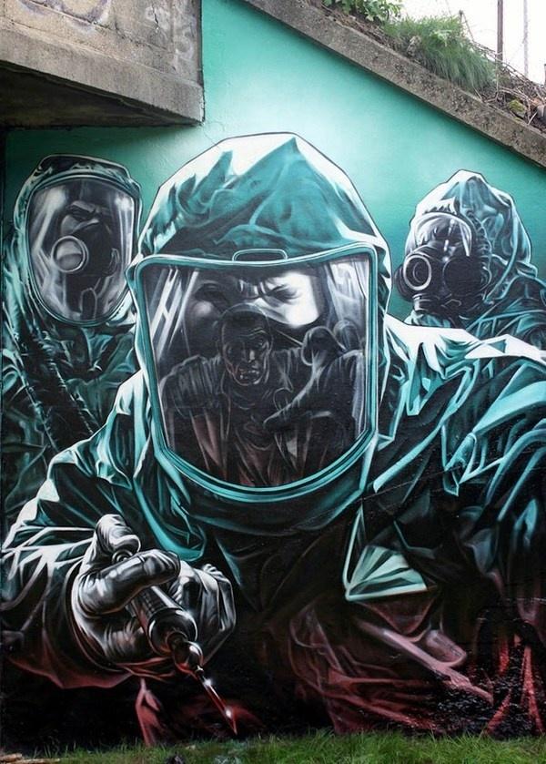 Contamination realistic graffiti #graffiti #realism #street #art #realistic