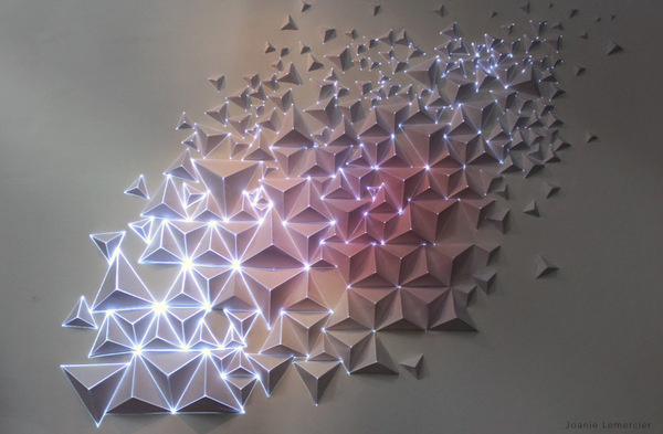 Paper, tape, light.Video projection onto origami. #paper #origami #light