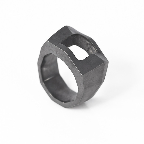 Via Bari Ring oxidised silver | SMITH/GREY #mens #accessories #white #b&w #silver #damaged #black #texture #jewellery #men #jewelry #and #fashion #ring #grey