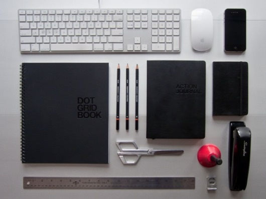 Setting the Scene for a Productive Day :: Tips :: The 99 Percent #keyboard #mouse #design #scissors #grid #notebook