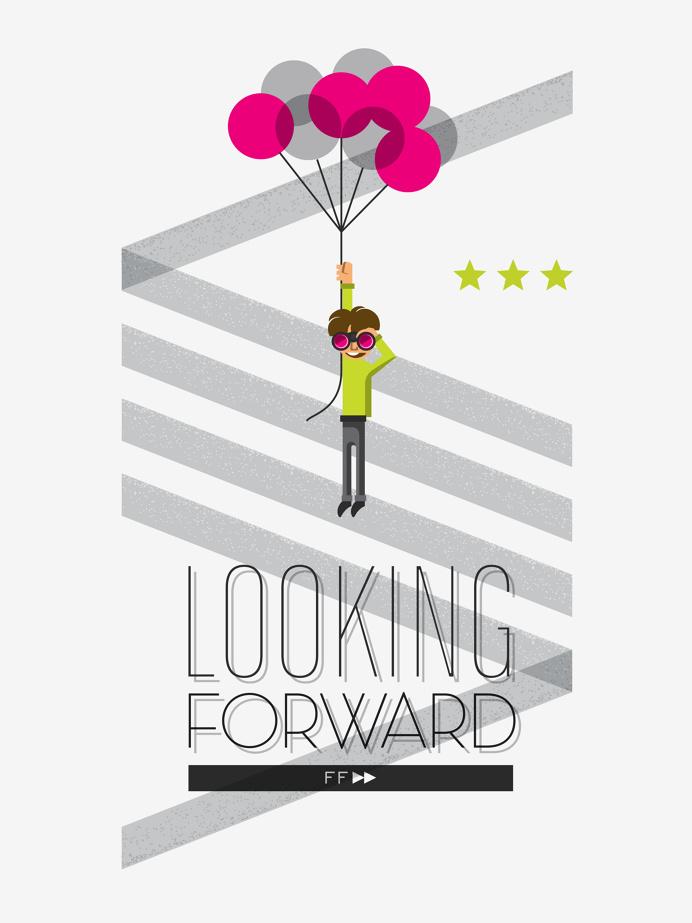 Poster illustration for FF Diseño #illustration #poster #typography #kid #stripes #balloon #print #stars #floating