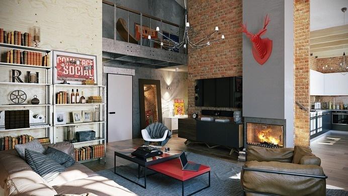 Attractive Loft apartment with an interior design made by Paul Vetrov - HomeWorldDesign (13) #interior #loft #apartments #design #decor #vintage