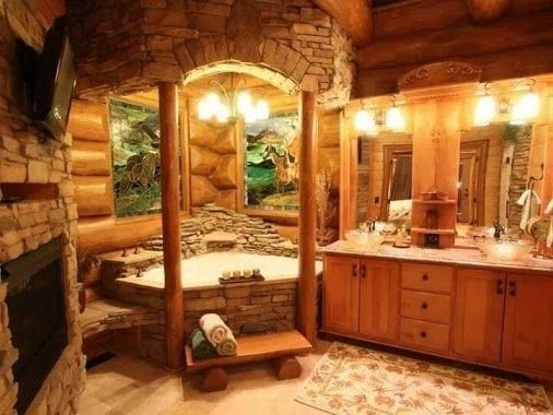 Amazing Natural-style bathroom #interior #design #bathroom