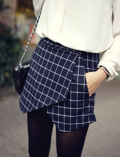 basillico: ☂ #pattern #checkered #skirt #fashion #short